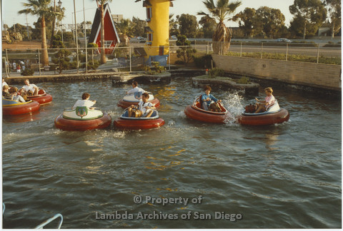 AIDS Foundation of San Diego: Miniature Golf - 1990, Recreational Activity, Staff and Clients Ride Bumper Boats.