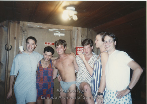 P001.181m.r.t Retreat 1991: 6 men in a row wearing their pajamas