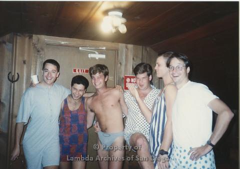 P001.181m.r.t Retreat 1991: 6 men in a row wearing their pajamas