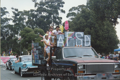 P001.333m.r.t Pride: people on AIDS Foundation San Diego Pride float