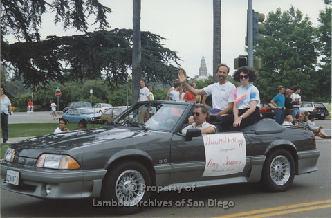 "P001.038m.r Pride 1991: Garret Dettling ""Chairperson"" and Amy Somers ""Executive Director"""