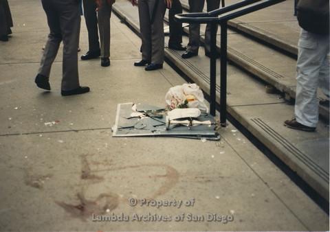 P024.091m.r.t Myth California Protest, San Diego, June 1986: broken mirror