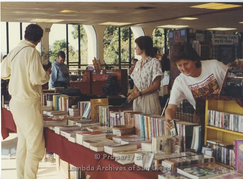"Lesbian Community Cultural Arts (LCCA), Cultural Weekends SDSU, Karen Merry ""Book woman"""