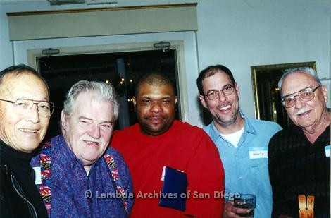 "P040.042m.r.t SAGE General Meeting; group of 5 men, Paul ""Tony"" Crockhorn in middle"