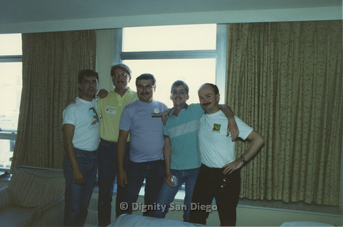 P103.127m.r.t Dignity Ninth Biennial Convention, San Francisco, 1989: Five men posing for the camera in casual attire, Neil Manfredi at center