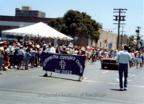 P018.022m.r.t San Diego Pride Parade 1988: Metropolitan Community Church banner