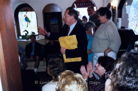 P338.059m.r.t Tom Atkins (sp) speaking to unidentified group at Howard Wayne fundraiser with Jeri Dilno standing behind him