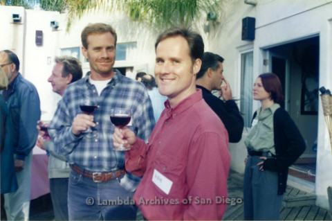 P022.054m.r.t The Center, Centre Street, Donor Appreciation Party: Two men with wine glasses