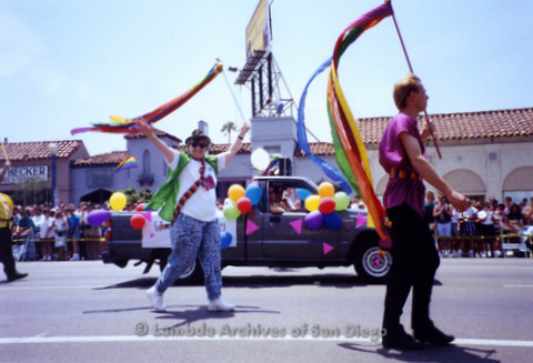 San Diego LGBTQ Pride Parade, July 1995: Jeri Dilno (center) walking the parade route