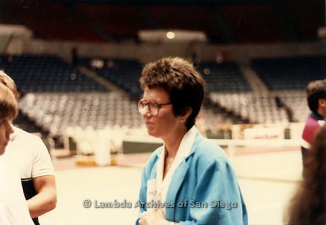 Billie Jean King at a tennis match in San Diego.