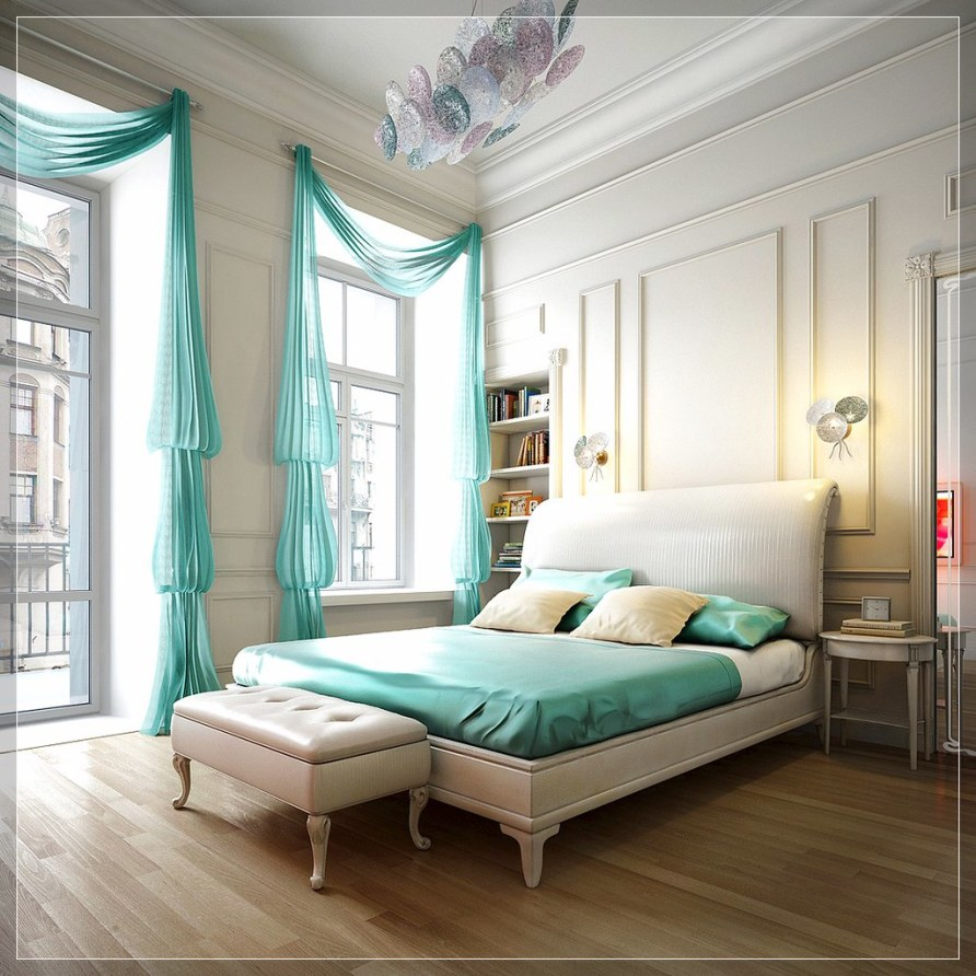 retro bedroom ideas, Aqua blue bedroom Spalnya 1