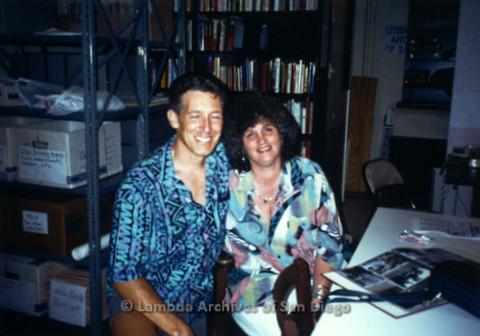 P231.002m.r.t Frank Nobiletti (left) and Joan Nestle (right) sitting in Lambda Archives stacks