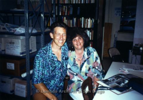P231.002m.r.t Frank Nobiletti (left) and Joan Nestle (right) sitting in Lambda Archives stacks