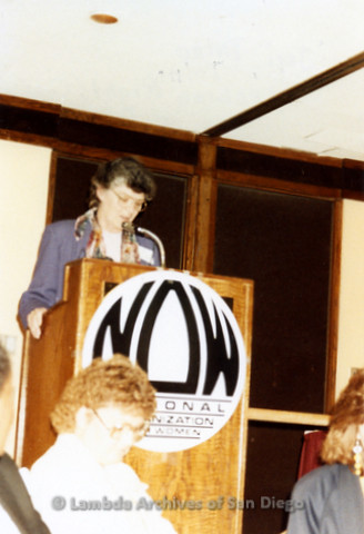 National Organization for Women, Susan B. Anthony Awards 1992: Jeri Dilno speaking at the NOW event.