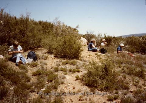 P008.010m.r.t Oakzanita Peak - Cuyamaca 1983: Lunch break with Margaret Lewis, Diane F. Germain, and Lianne