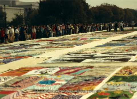 P019.299m.r.t AIDS Memorial Quilt 1987: Large crowd of people looking at the AIDS Memorial Quilt