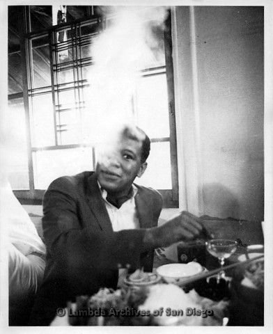 P135.016m.r.t Thomas Carey in Japan: Thomas Carey smoking in a restaurant