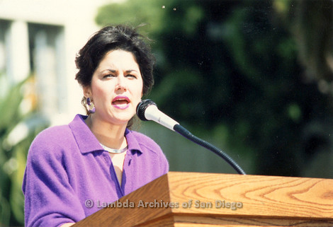 P116.010m.r.t San Diego Walks For Life 1986: Close up of Susan Golding speaking at podium