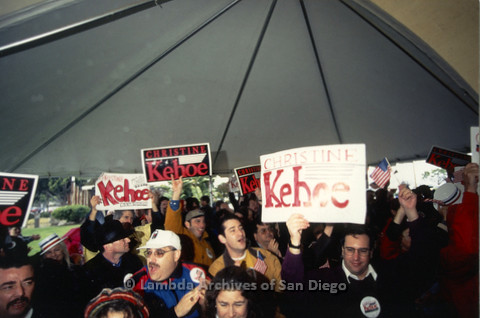 P096.046m.r.t Fundraiser for Christine Kehoe for Congressional Race: Audience rallying with signs