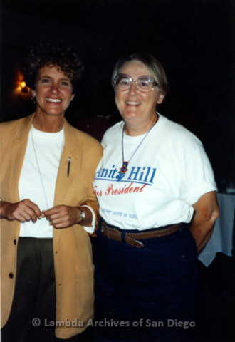 West Coast Women's Music and Comedy Festival Produced by Robin Tyler in Yosemite, California, Labor Day Weekend 1991. Lesbian Performer, Margie Adam (left) with Sheila Clark (right).
