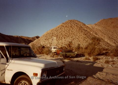 P008.064m.r.t Anza-Borrego Desert 1984: Cars in the desert