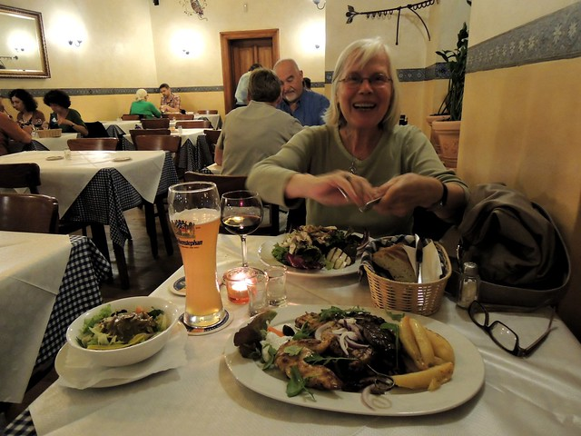 Antje at the yummy Greek restaurant near her house. by bryandkeith on flickr