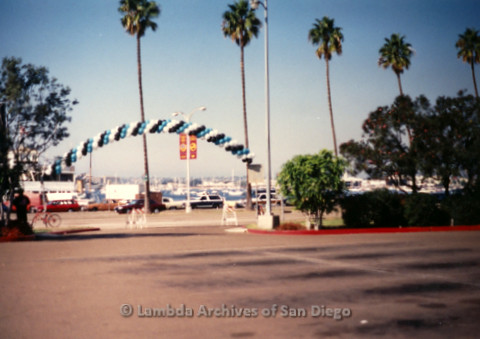 P197.019m.r.t AIDS Walk San Diego 1991: Balloon arch over entrance to parking lot