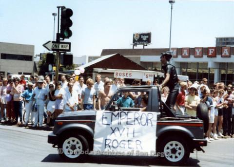 """P018.023m.r.t San Diego Pride Parade 1988: """"Emperor XVII Roger"""" car"""