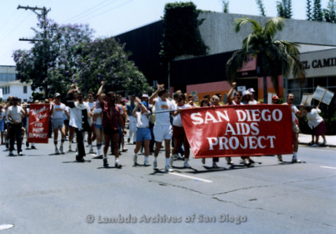 San Diego Lambda Pride Parade: Contingent - San Diego AIDS Project Staff and Clients Marching In The Lambda Pride Parade.