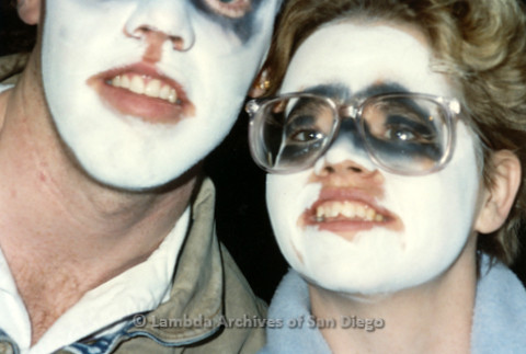 """P019.372m.r.t Los Angeles """"Die In"""" 1988: Close-up of two people in skull face paint"""