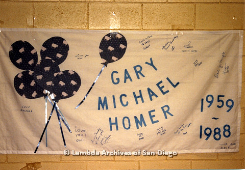AIDS Quilt at San Diego Golden Hall,1988: quilt dedicated to Gary Michael Homer, with signatures