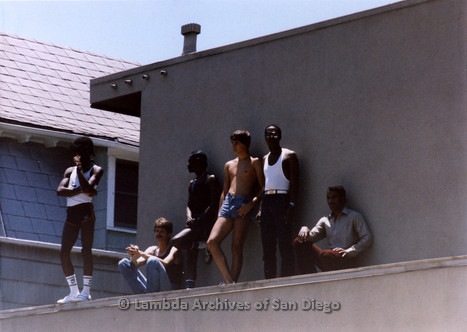 San Diego Lambda Pride Parade: Six Gay Men Watch the Parade From a Roof Top of an Apartment on Fifth Avenue in Hillcrest.