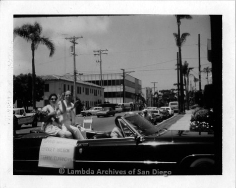 1986 - San Diego Lambda Pride Parade: Grand Marshals Bridget Wilson (left) and Terry Cunningham (right) honored for their work during the early years of the AIDS Crisis.