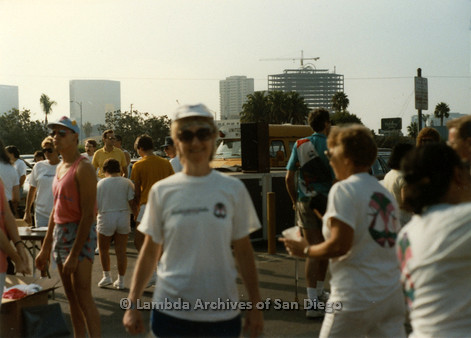 P197.005m.r.t San Diego Walks For Life 1988: Crowd of walkers with one woman posing in foreground
