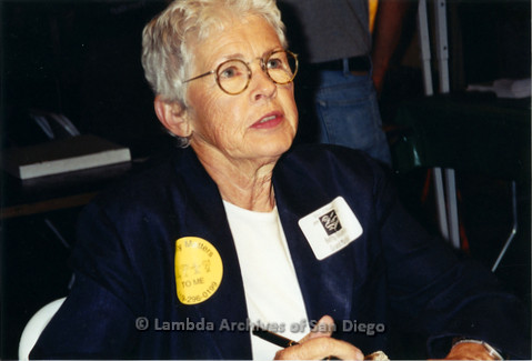 San Diego LGBT Pride Events, July 1999. Grand Marshal, Betty DeGeneres at her book signing during LGBT Pride Weekend.