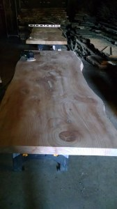 Natural wood slab table