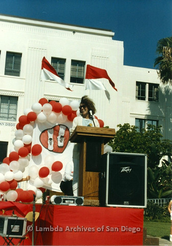 P012.014m.r.t San Diego Walks for Life 1986: Beth Howland speaking at podium