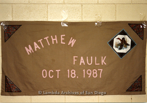 P019.046m.r.t AIDS Quilt at San Diego Golden Hall 1988: Brown quilt dedicated to Matthew Faulk