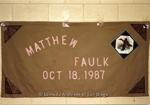 P019.046m.r.t AIDS Quilt at San Diego Golden Hall 1988: Brown quilt dedicated to Matthew Faulk