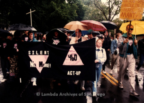 """P019.394m.r.t March on Sacramento 1988: People marching while holding banner that reads: """"SILENT NO MORE  ACT UP 460"""""""