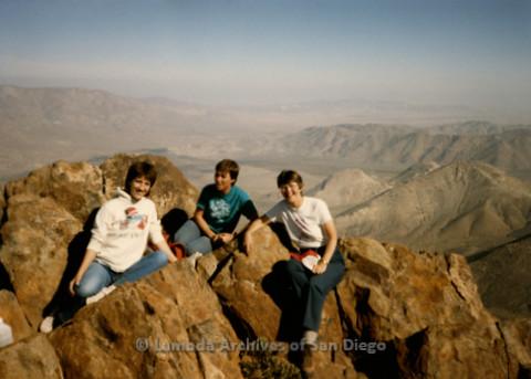 P008.106m.r.t Laguna Mountains November 1984: Toni, Sandy Johnson, and Katherine at the peak