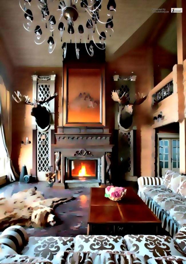 Luxury Living Room Wooden Villa Design