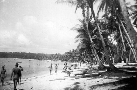 Military Personnel at Beach, 1946