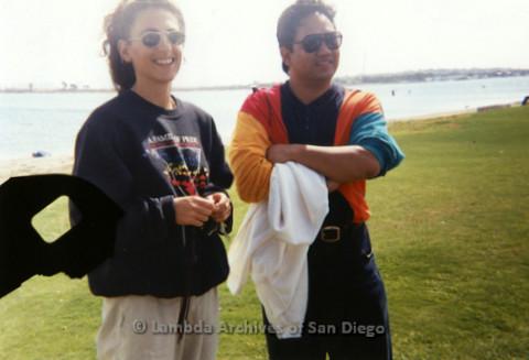 P197.034m.r.t AIDS Walk San Diego 1993: Nielan Barnes and man at Crown Point volunteer picnic
