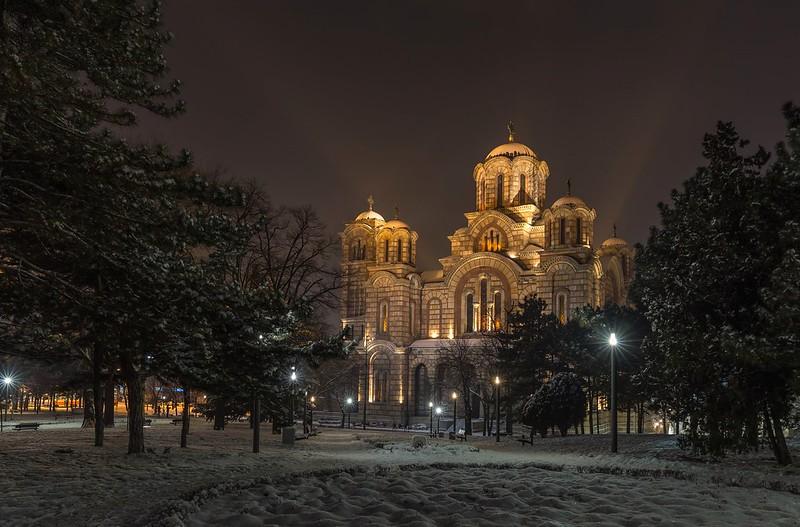 Saint Mark Church in the winter night