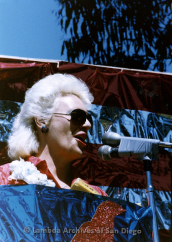 1985 - San Diego Lambda Pride Rally, Presentation of County Proclamation: Susan Jester Speaking at the Rally Podium. The Lambda Pride Rally happened on Saturday, right after the Parade in Balboa Park.