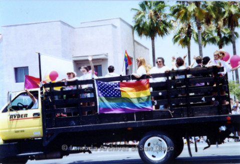 San Diego LGBTQ Pride Parade, 1992 Cynthia Lawrence Wallace Director, 5th from right