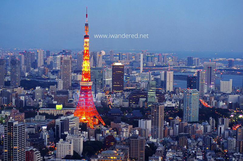 view of tokyo tower from mori tower