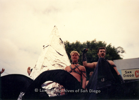 P018.100m.r.t San Diego Pride Parade 1991: Men in leather gear on a float