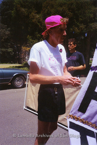 P018.177m.r.t San Diego Pride Parade 1990s: Lambda Archives volunteer at parade